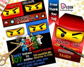 Ninja Invitation and FREE Thank You Tag, Ninja lego invitation, Ninja Thank You tag, Ninja Thank You card, Ninja, Digital File