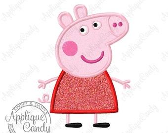 Pep Pig Applique Machine Embroidery Design File 4x4 5x7 6x10 INSTANT DOWNLOAD