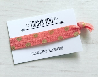 Thank you hair tie hair elastic bracelet party favour - choice of designs