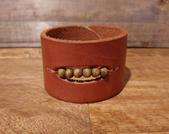 Leather and wood beadwork cuff