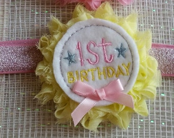 FREE SHIPPING???  1st Birthday Headband, Baby Headband, Cake Smash Headband, 1st Birthday, Cake Smash