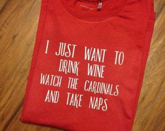 St louis cardinals shirt, st louis cardinals, cardinals baseball, wine shirt, stl cardinals, womens gift, baseball tee