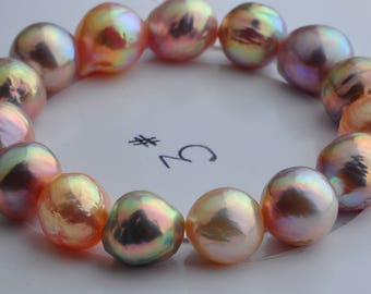 15pcs 13-14mm Large baroque pearls,natural Metallic color edison pearls,Approx 20cm freshwater pearl Bracelet