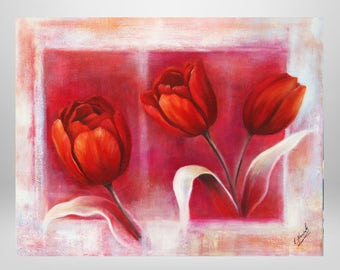 Tulips, flowers, oil painting, print on canvas