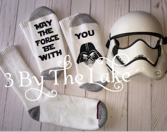 """Star Wars """"May the Force Be With You""""  with Darth Vader's face, Personalized Funny Men's Athletic Socks"""