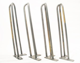 "14″ (36cm) 3 Rod Hairpin Legs. Raw Steel Rebar 3/8"" (10mm) Diameter. Steel. Raw Steel. Coffee table legs. Metal legs. Steel legs. SET OF 4"