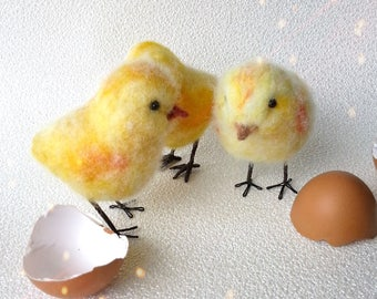 Soft fluffy yellow chicks, Blue or pink chicks, Easter chick, Fluffy chicks, Gifts for bird lover, Bird miniatures, Bird ornament