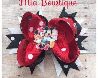 Red Minnie Hair Bow, Minnie Mouse Hair Bow , Minnie Hair Bow, Minnie Hair Clip, Disney Hair Bow, Ready to ship