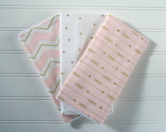 Girl Burp Cloth Set | Pink & Gold Burp Cloths | Ready to Ship | Modern | Trendy | Arrows | Chevron | Baby Gift | Burp Rags