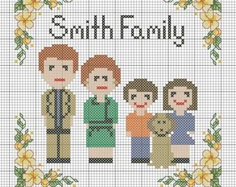Cross Stitch Family Portrait Pattern, Cross Stitch Pattern