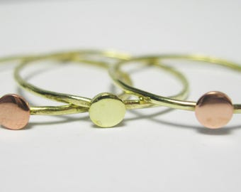 Stacking Rings - Size 7.5 - Mixed Metal Rings - Sterling Silver and Brass Rings - Gift for Her