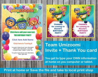 Team Umizoomi Birthday party Invite Invitation