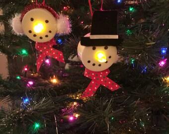 Tea Light Snowman Ornaments set of 2