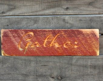 Rustic Thanksgiving Sign, Gather, Farm house decor, Thanksgiving decorations, country home decor, reclaimed wood