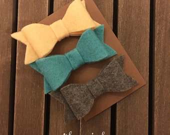 Felt Bows, Set of Felt Bows,  Hair Clips
