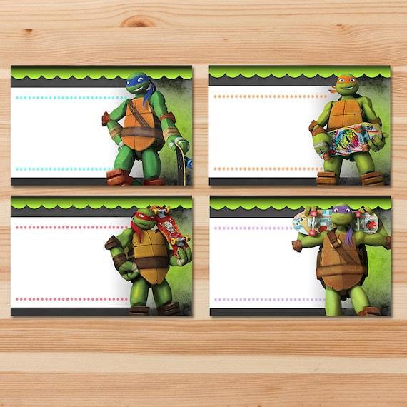 Teenage Mutant Ninja Turtles Food Tents - Green Chalkboard - Ninja Turtles Food Labels - Ninja Turtles Party - Ninja Turtles Party Printable