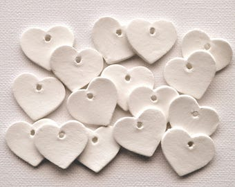 Tiny heart gift tags, set of 10 or 25, heart-shaped gift tags, mini gift tags, clay hearts, mini hearts, tiny gift tags, white mini tags