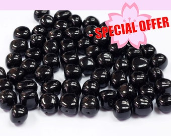 SPECIAL ~ Black Obsidian Tumbled shaped full drill beads - 8x12 - 50pcs ~ WITH COUPON