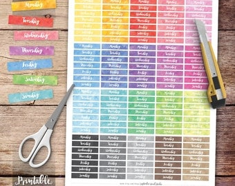 Days of the Week Printable Planner Stickers, Date Cover Stickers, Watercolor Stickers, Erin Condren Planner Stickers