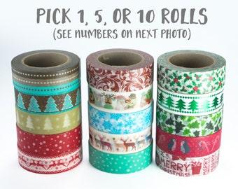 Christmas Washi Tape Set, ON SALE - pick your own set, snowflake, christmas tree, reindeer, holly, penguin