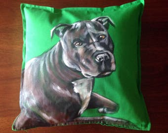 Staffordshire Bull Terrier - hand painted cushion cover green