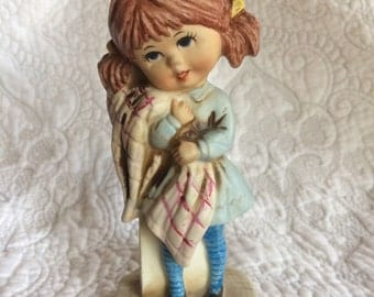 Vintage Moppets Little Girl with Blanket figurine - Pigtails Bright Blue Striped Stockings - Fran Mar 1971