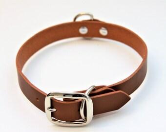 Large Genuine Leather Dog Collar (DarkBrown) 21''
