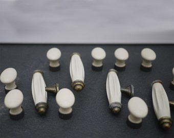 Antique french Porcelain Brass Drawer Knobs T and Oval Knobs set of 12 Circa 1950 s