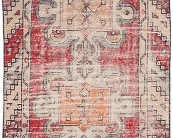 Super anrique Turkish rug runner 2.7 x 8.1 low pile washed clean