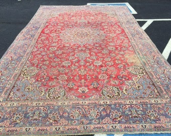 persian rug antique huge size 9.7 x 15.9 washed clean low pile