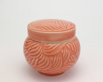 Petite Covered Jar Deep Coral