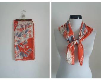 Vintage silk scarf | silk scarf | vintage printed silk