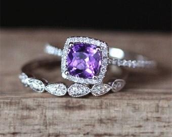 Gold Birthstone Ring Set Natural 6mm Cushion Cut Amethyst Ring Set Art Deco Half Eternity Wedding Ring 14K White Gold Engagement Ring Set