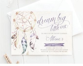 Girls Birthday Invitation Template | Tribal Boho Dreamcatcher Party Invite | Dream Big | Printable | Editable | Instant Download #035GBD