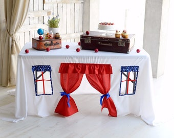 Tablecloth Playhouse/ Baby shower tablecloth/ Birthday party tablecloth/ Children playhouse/ July 4th party/ 4th of july decor