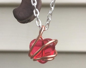 Wire Wrapped Heart Charm Necklace