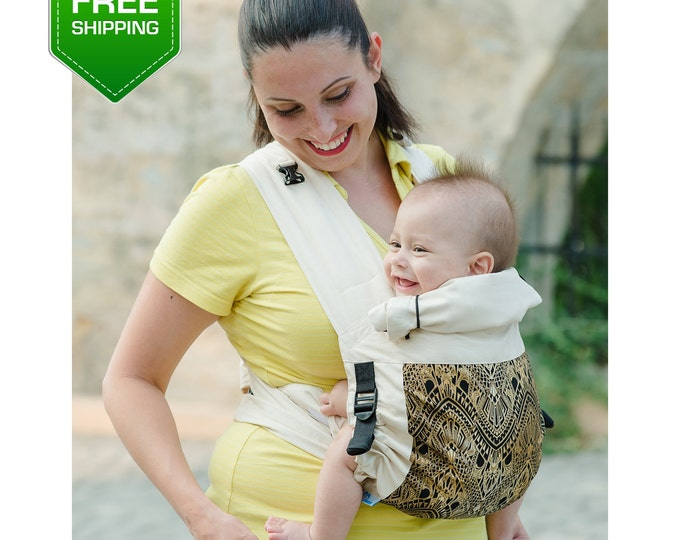 Adjustable Mei Tai Beige Gold. Baby Carrier Wrap, Mei Tai Baby Carrier, Toddler Carrier, Baby Carrier, Infant Carrier, Mei tei, Soft Carrier