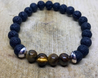 Mens bracelet of Lava stone with Tiger eye