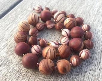 Handmade Polymer Clay Beads, Mahogany Bead Set, Polymer Clay Bead Set, Tribal Beads, Artisan Polymer Clay Beads, OOAK Polymer Clay Beads