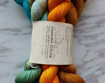 Hand Dyed Yarn, Merino and Nylon Fingering Weight Curated One of a Kind Sock Yarn 20g Mini Skein Set of 5 - I