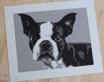 Boston Terrier paper cut art