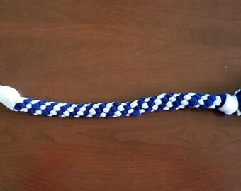 Fleece Braided Dog Tug Toy (White & Blue) - Medium Dog