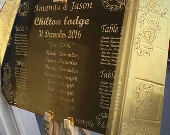 Floral Engraved Bohemian Style Table Seating Plan for Weddings and Events