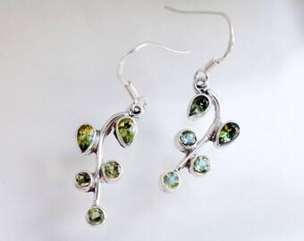 Branch Leaf Green Earrings - Green Peridot Silver Earrings - Sterling Silver Leaf Grape Drop Earrings - Natural Peridot Gemstone - Teardrop