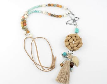 Necklace ecru, beige and turquoise, pearls, Pompom, adjustable necklace collar long...