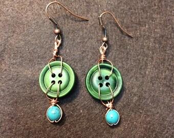 Handmade Green Button Earrings
