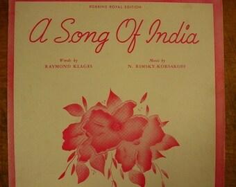Sheet Music A Song Of India Music Sheet Antique Vintage Rimsky Korsakoff