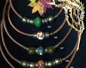 Beautiful Leather Beaded Necklaces Multi