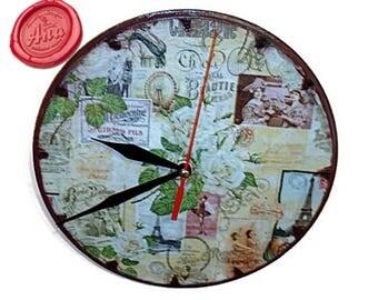 Paris wood wall clock, Paris wall clock, Handmade decoupage