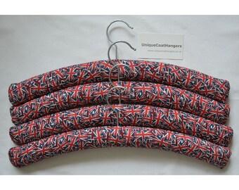 4 high quality padded coathangers, Union Jacks.